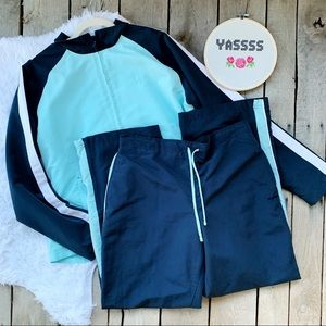 Reebok Track Suit Jacket & Pants Blue Teal Large